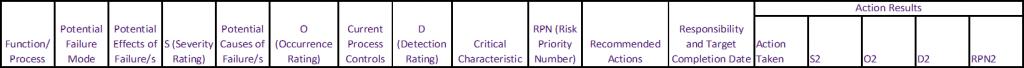 Basic FMEA Table Template