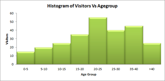 Figure 2: Example Histogram of Visitors vs Age group